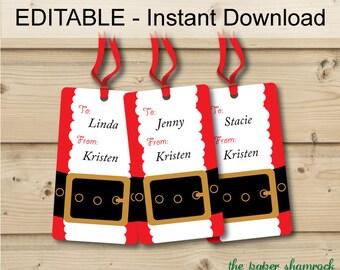 Christmas Gift tags, Holiday Gift Tags, Christmas Tags, Hang Tags - Printable EDITABLE INSTANT DOWNLOAD - Santa's Belt