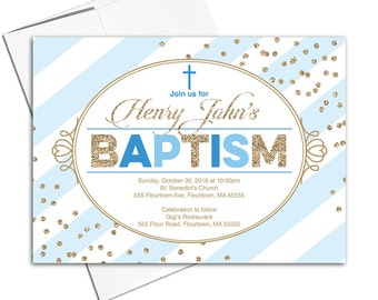 Boy Baptism invitation boy printable | blue and gold invites | christening invitation boy | DIY digital or printed - WLP00204