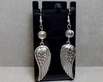 Angel Wing Earrings - Angel Wing Charm Earrings - Beaded Wing Earrings - Dangle Wing Earrings - Free US Shipping
