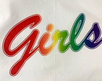 """Rainbow Printed """"Girls"""" T-Shirt"""