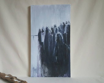 Dark Art Canvas Painting. 'The Jury of our Fears' - Highly Textured Abstract Art. Disturbing, Moody, Monochrome Silhouette Oil Painting.
