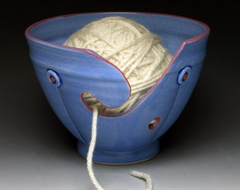 Periwinkle Button Ceramic Yarn Bowl, Ceramic Knitting Bowl