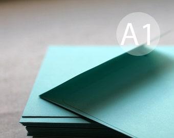 "25 3x5 Turquoise Envelopes - A1 / 4-Bar Aqua Blue Envelopes (true size 3 5/8"" x 5 1/8"") - Seafoam green envelopes"