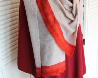 Cashmere Travel Shawl Unique Design Scarf, Fair Trade, Gift for her, Loomed Nepal Cashmere