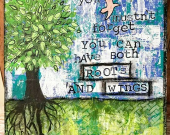 Roots & Wings Mixed Media Art Print on Wood