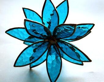 NEW 3D Stained Glass Flower Suncatcher -Dark Aqua Textured - In Full Bloom
