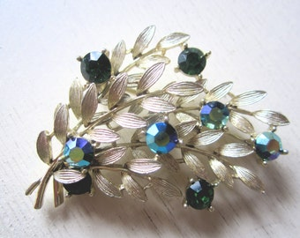 Vintage Pin - Green Rhinestone - Gold Leaf - Branch - Leaves - Brooch - Holiday - Spring - Mystic - Sparkle - Faceted