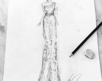 Custom Bridal / Bride and Groom / Bridal Gown Sketch - Printable File