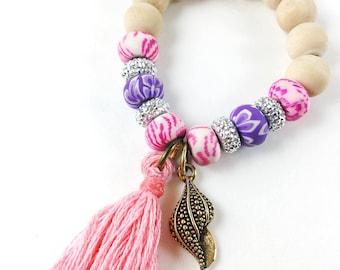 Sea Shell Pink Tassel Charm Bracelet, Ocean, Shells, Beads,  Sea, Shells, Girl Gift, Tassel