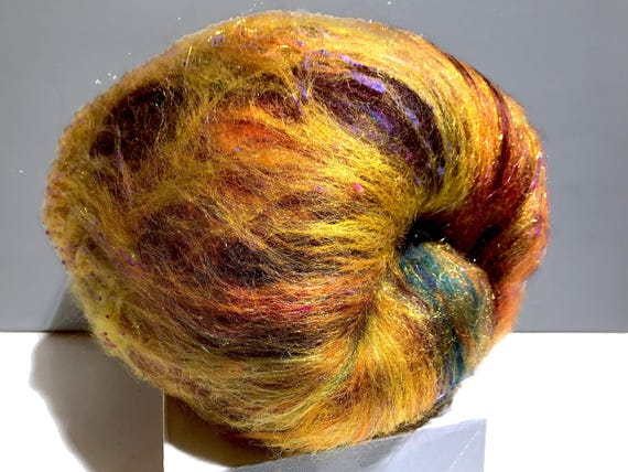 "gold art batt KIT, Spinning kit, fiber ""Black-eyed Susan"" Nuno Needle felting wool, Gold black brown yellow purple green topaz, blending kit"