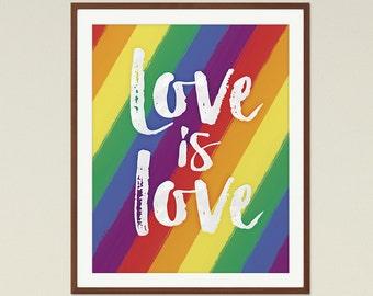 Charming Love Is Love, Gay Pride Medium Printable Queer Art, Orlando Pride, Rainbow  Flag