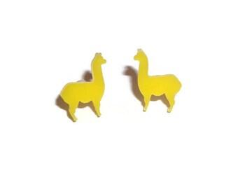 Llama Earrings, Cute Yellow Stud Earrings, Animal Jewelry, Kawaii Quirky Alpaca, Laser Cut