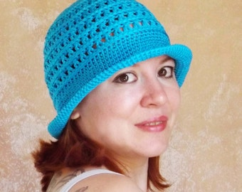 Sun hat, bucket hat, knitted hat, summer hat, blue hat, crochet hat, crochet waistcoats, hat from the sun, Knitted waistcoats,