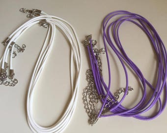 2 pcs 1.5 mm Leather Chains Necklaces Bracelet Pendant Charms With Lobster Cord