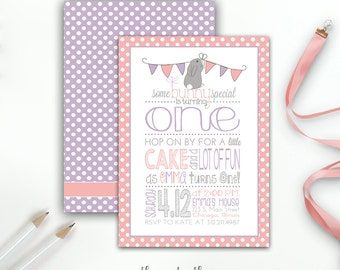 Some Bunny is One Birthday Invitation, Easter Spring Birthday, Girl's First Birthday Some Bunny Special, Pink & Purple, Printed or Printable