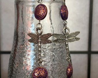 Dragonfly Dangle Earrings with Copper Beads
