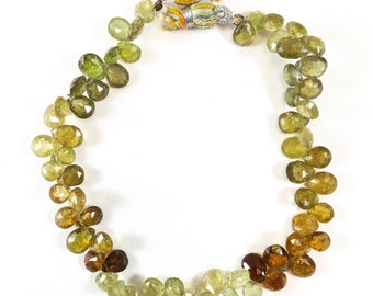 Strand of Finely Faceted Grossular Green Garnet Pear shaped Top drilled Briolette Beads