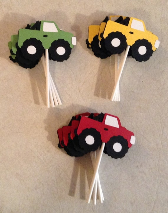 Monster Truck cupcake toppers Party Supplies Cake