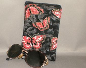 Butterfly - Eyeglass or Sunglasses Case - Zipper Top - Padded Zippered Pouch - Butterflies - Red, White, Gold