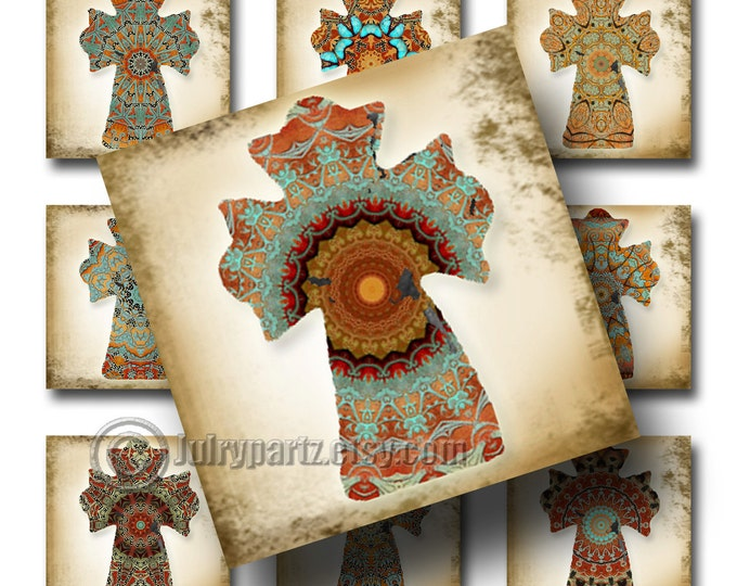 COWGIRL DREAMS Cross, 1.75 x 1.75 square, Printable Digital Images, Cards, Gift Tags, Stickers, Magnets, junk gypsy style, southwest