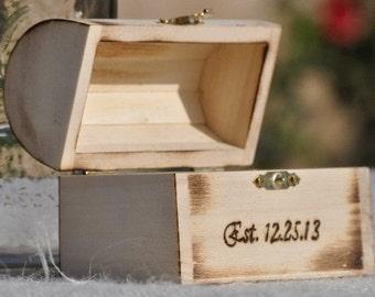 Personalized Ring Bearer Box-Rustic Wedding- Fairy Tale Wedding-Treasure Chest-Ring Bearer Pillow Alternative