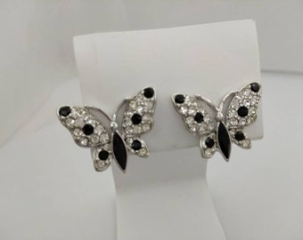 Trifari Sparkling Butterflies Rhinestone Clip earrings  signed Classic