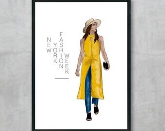 New York Fashion Week #3 - Street Style, Fashion Illustration, Digital Fashion Wall Art, Fashion Poster, Instant Digital Download, A3