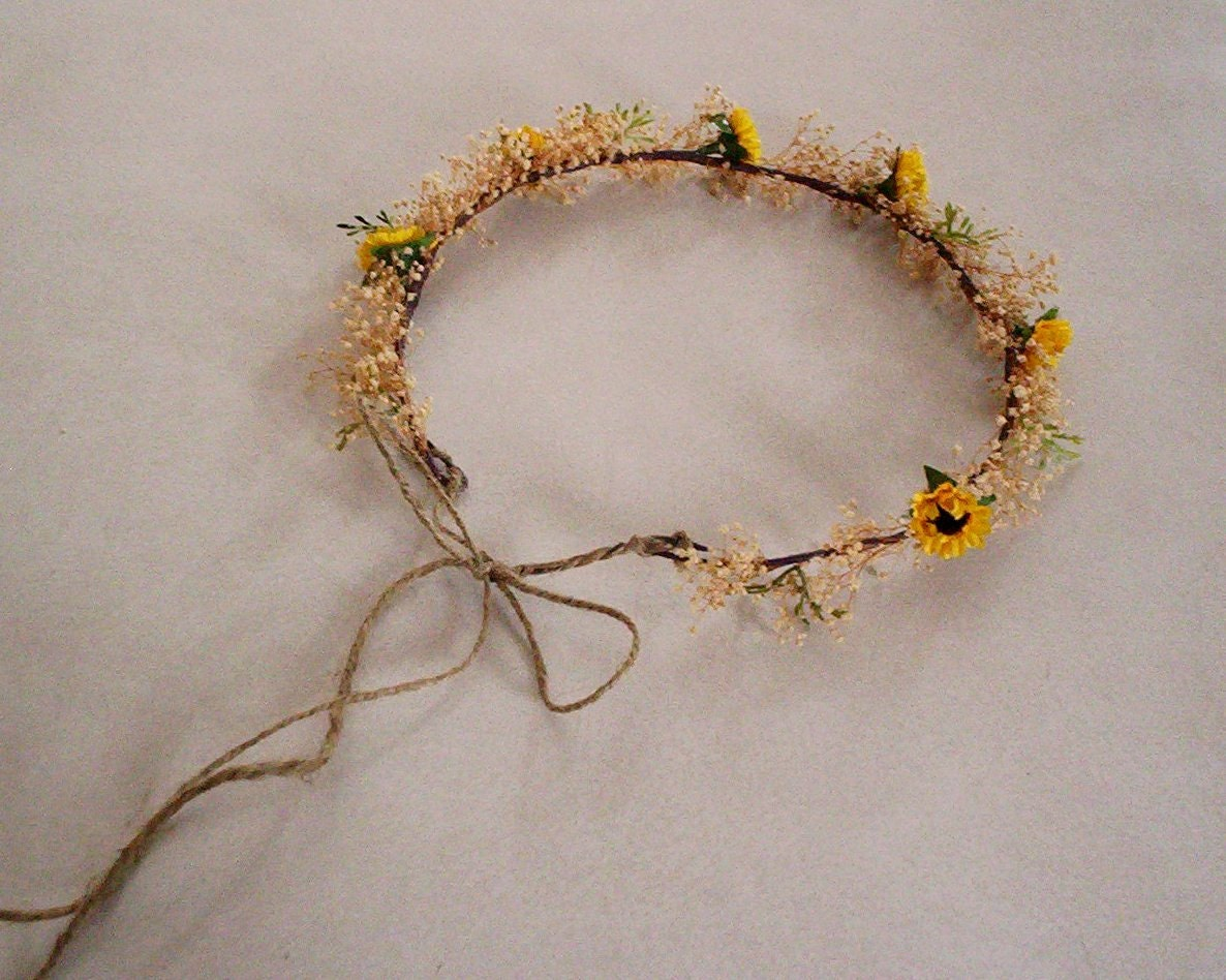 Sunflower twine bridal flower crown rustic chic dried woodland zoom izmirmasajfo