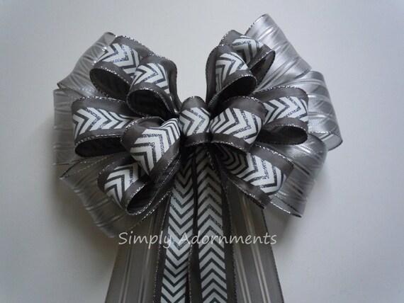 Silver Grey Chevron Wedding Pew Bow Silver Gray Wedding Aisle Bow Silver Christmas Wreath Bow Gray Ceremony Decor Silver Door Hanger Bow