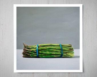 Asparagus Bunch - Fine Kitchen Art Oil Painting Archival Giclee Print Decor by Artist Lauren Pretorius