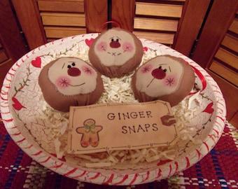 Primitive Whimsical Country Christmas GINGERBREAD COOKIES Ornaments Bowl Filler Ornies Peg Shelf Tucks Knob Hangers