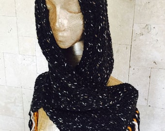 Hooded Scarf , Chunky Scarf ,  Scoodie Scarf , Black Scarf ,black hooded scarf ,  knit scoodie scarf