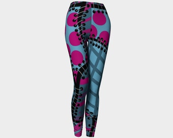 Faux patchwork yoga leggings, pink, turquoise, aqua, boho, bohemian, fun, funky athleisure by Felicianation Ink