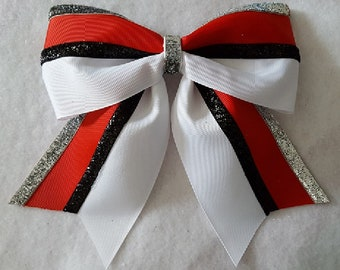 White Red Black and SIlver Hairbow