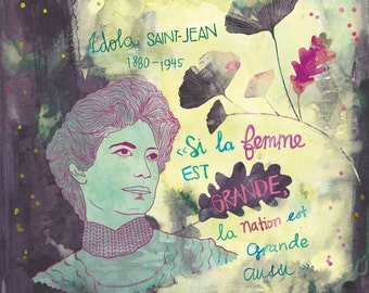 Feminist print, Idola Saint-Jean Poster, Quebec Feminist, French canadian feminist woman
