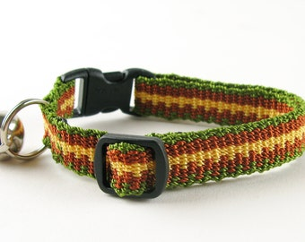 Kitty Cat Collar Hand Woven Breakaway Kitten Collar Olive Green Rust and Yellow Stripe