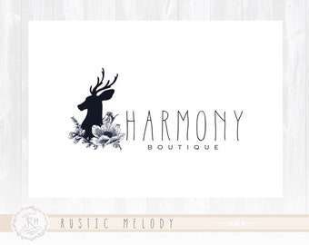 Rustic Logo Design Deer Logo Boutique Logo Boho Chic Logo Watermark Photography Logo