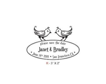 May Sale Birdies Save The Date Wedding Custom Rubber Stamp Birdie K