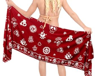 La Leela Women Short Sarong Wrap Skirt Pareo Swimsuit Bathing Suit Mini Coverup Beachwear - Red - 906065