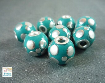 2 Indonesian beads, turquoise resin, 14mm, (pi8)
