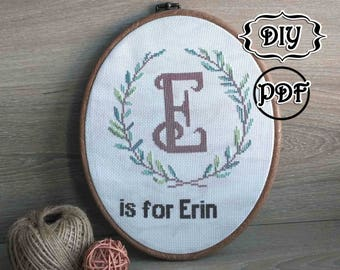 Be custom cross stitch pattern Nursery letters cross stitch Letters embroidery Fonts monogram embroidery pattern Baby gift personalised wood