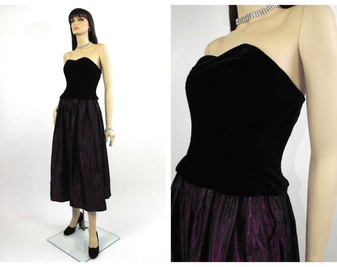 1980's Laura Ashley Velvet and Taffeta Bustier Cocktail Dress // Laura Ashley Cocktail Dress // Steampunk Dress // Goth Dress // 80's Prom