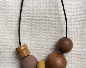 Mums and Sage / Vintage Wood Bead and Clay Necklace