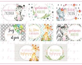 Sweet watercolour baby animals, illustrations, pocket mirrors, tags, scrapbooking, cupcake toppers, Birthday Girl, POLISH LANGUAGE VERSION