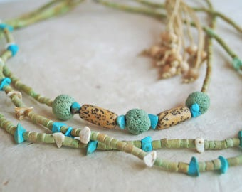Turquoise Layer Necklaces, Set of 3, Green Blue Necklaces, Boho Tassel Necklace