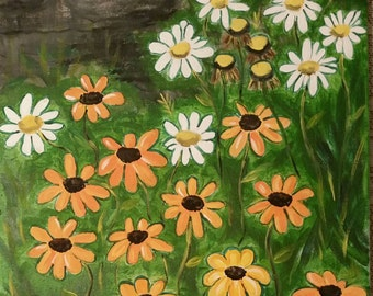 Summer flowers in acrylic on canvas
