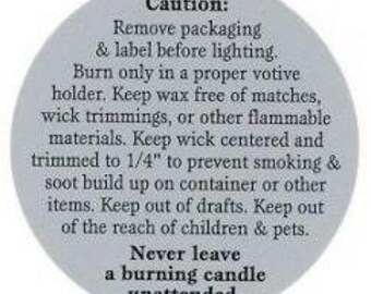 Tealight/Votive Candle Warning Label - 10 Pack
