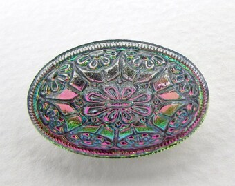 Vintage Glass Flower Cabochon Rhinestone Multi Green Pink Special Effects Embossed Silver Oval 24x18mm gcb1306 (1)