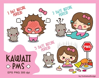 Kawaii girl clipart, PMS clipart, period clipart, cute girl clip art, bad mood clipart, kawaii cat clipart, Commercial Use