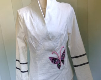 Laogudai Off White Rose Brocade Jacket, Asian Inspired Butterfly Jacket, Fitted Top Butterfly Applique Size 38